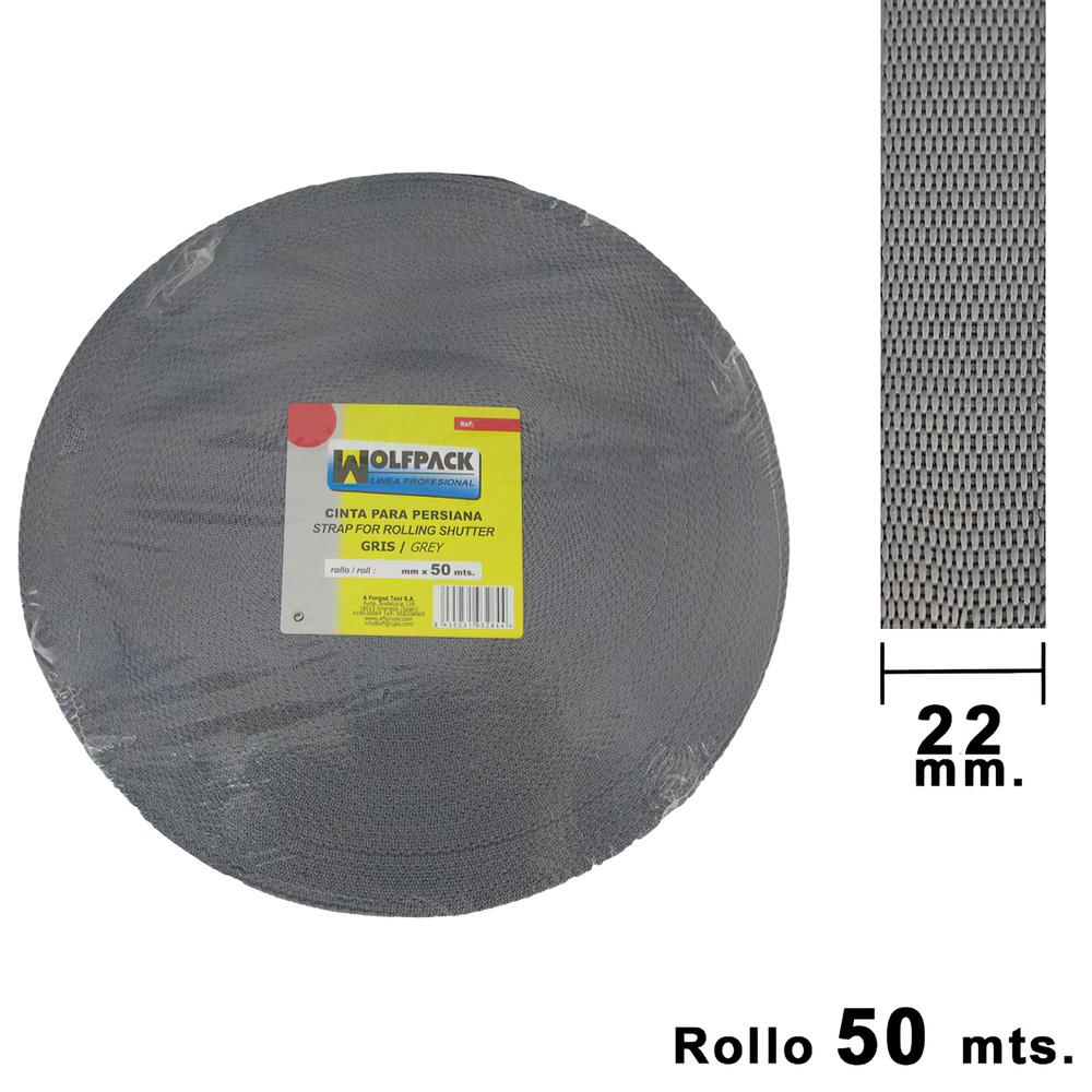Cinta Persiana Wolfpack Gris 20 mm. Rollo 50 metros