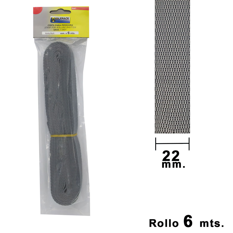 Cinta Persiana Wolfpack Gris 22 mm. Rollo 6 Metros