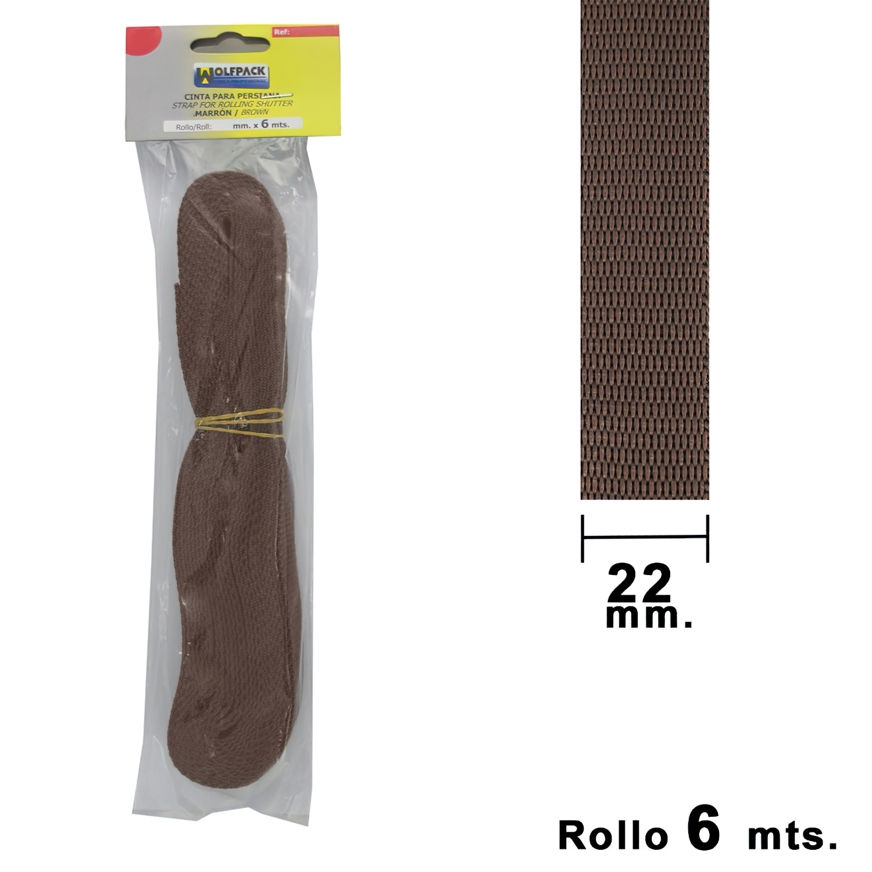 Cinta Persiana Wolfpack Marrón 22 mm. Rollo 6 Metros