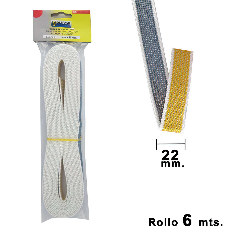 Cinta Persiana Wolfpack Bicolor 22 mm. Rollo 6 metros