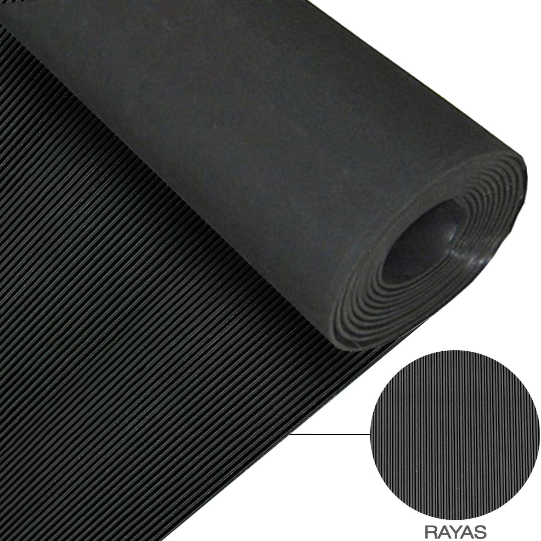 Suelo Goma Rayas 1,30x10 metros 3 mm. de Grosor Color Negro