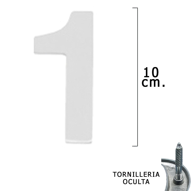 """Numero Metal """"1"""" Plateado Mate 10 cm. con Tornilleria Oculta (Blister 1 Pieza)"""