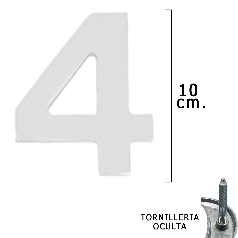 """Numero Metal """"4 Plateado Mate 10 cm. con Tornilleria Oculta (Blister 1 Pieza)"""