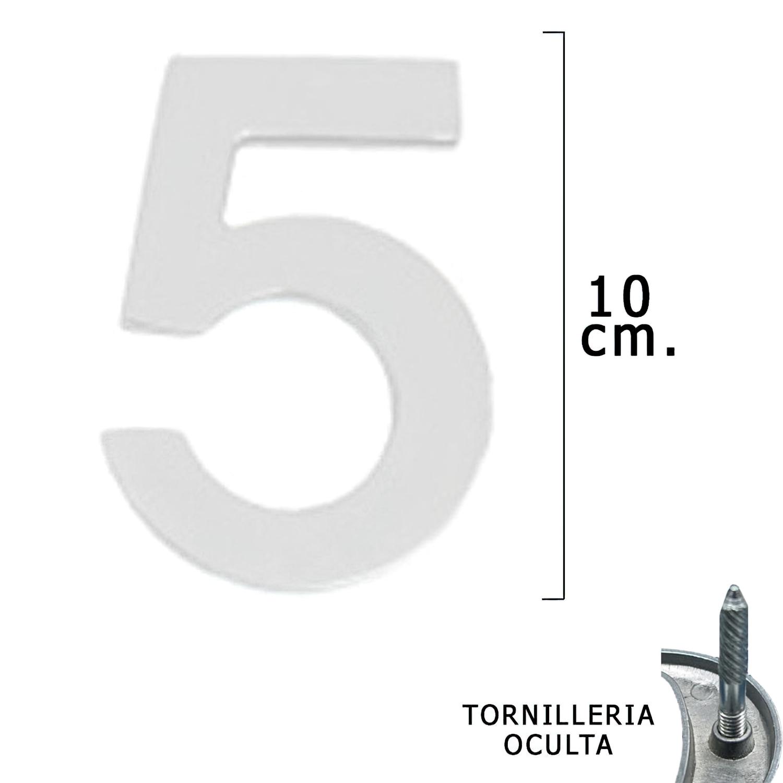 """Numero Metal """"5"""" Plateado Mate 10 cm. con Tornilleria Oculta (Blister 1 Pieza)"""