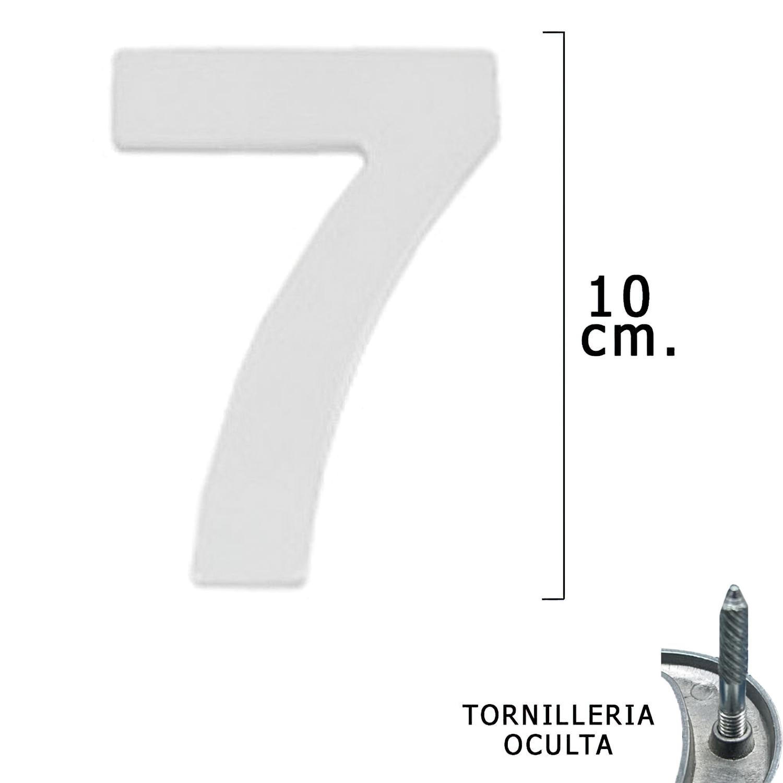 """Numero Metal """"7"""" Plateado Mate 10 cm. con Tornilleria Oculta (Blister 1 Pieza)"""