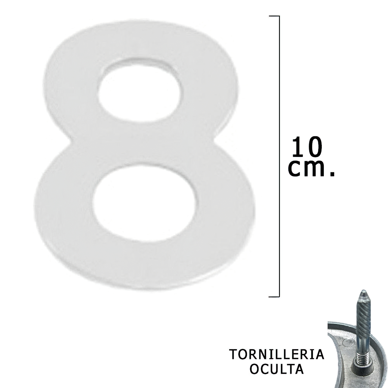"""Numero Metal """"8"""" Plateado Mate 10 cm. con Tornilleria Oculta (Blister 1 Pieza)"""