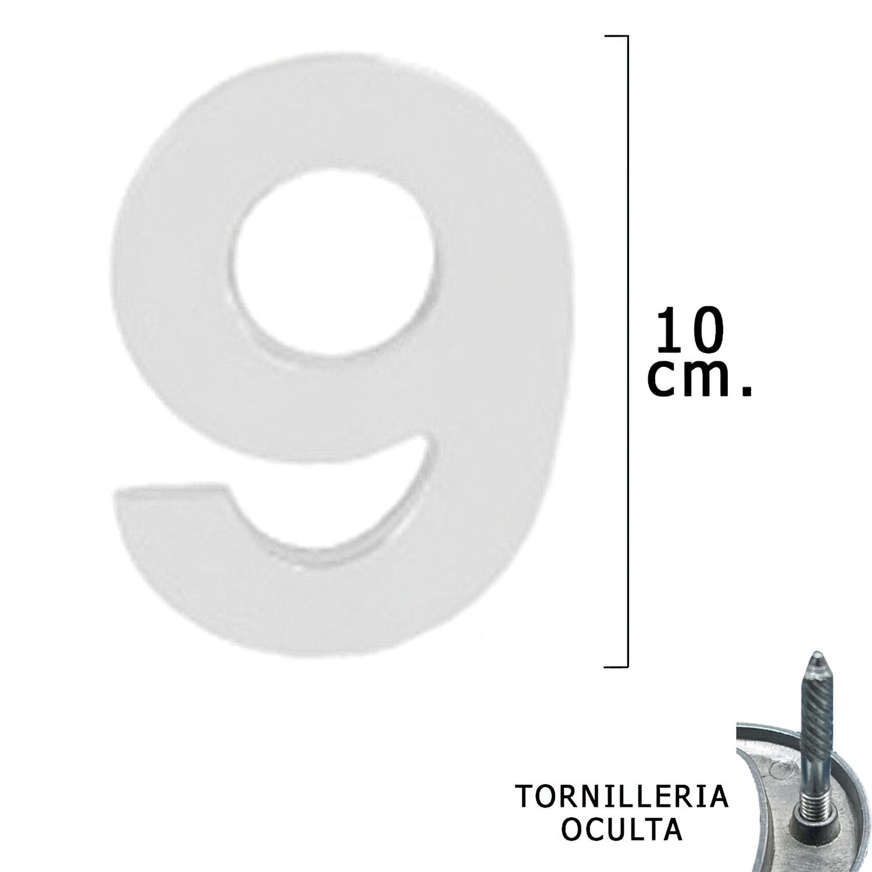 """Numero Metal """"9"""" Plateado Mate 10 cm. con Tornilleria Oculta (Blister 1 Pieza)"""