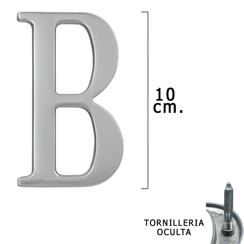 "Letra Metal ""B"" Plateada Mate 10 cm. con Tornilleria Oculta (Blister 1 Pieza)"