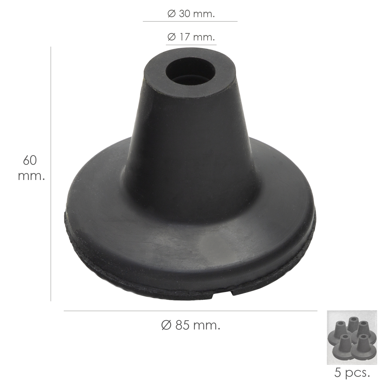 Taco Goma Baston Negro Tubo Ø 19 mm. / Base Ø 85 mm. Tipo Ventosa Bolsa 5 Unidades