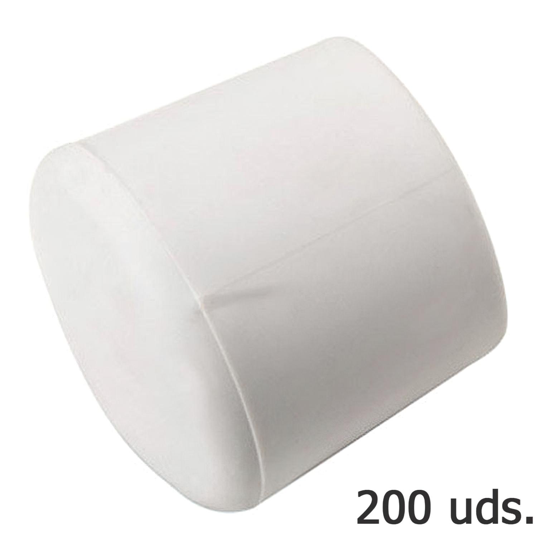 Contera Plastico Redonda Exterior Blanca  8 mm. Bolsa 200 Unidades