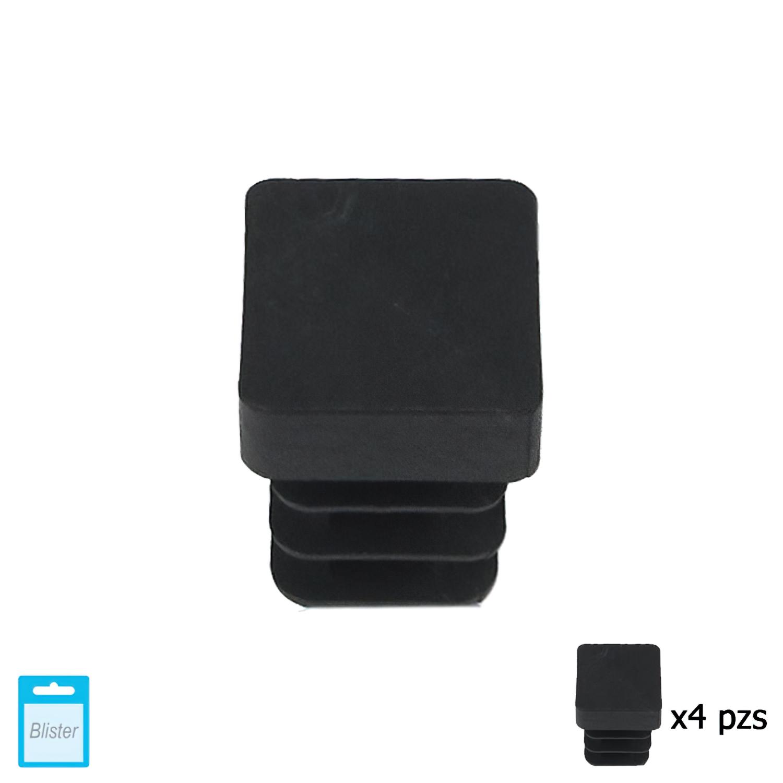 Contera Cuadrada Interior Negra 12x12 mm. Blister 4 piezas.