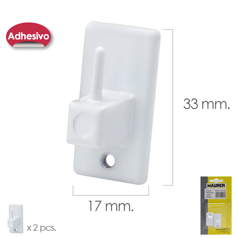 Gancho Visillo / Cortina Adhesivo Blanco (Blister 2 Piezas)