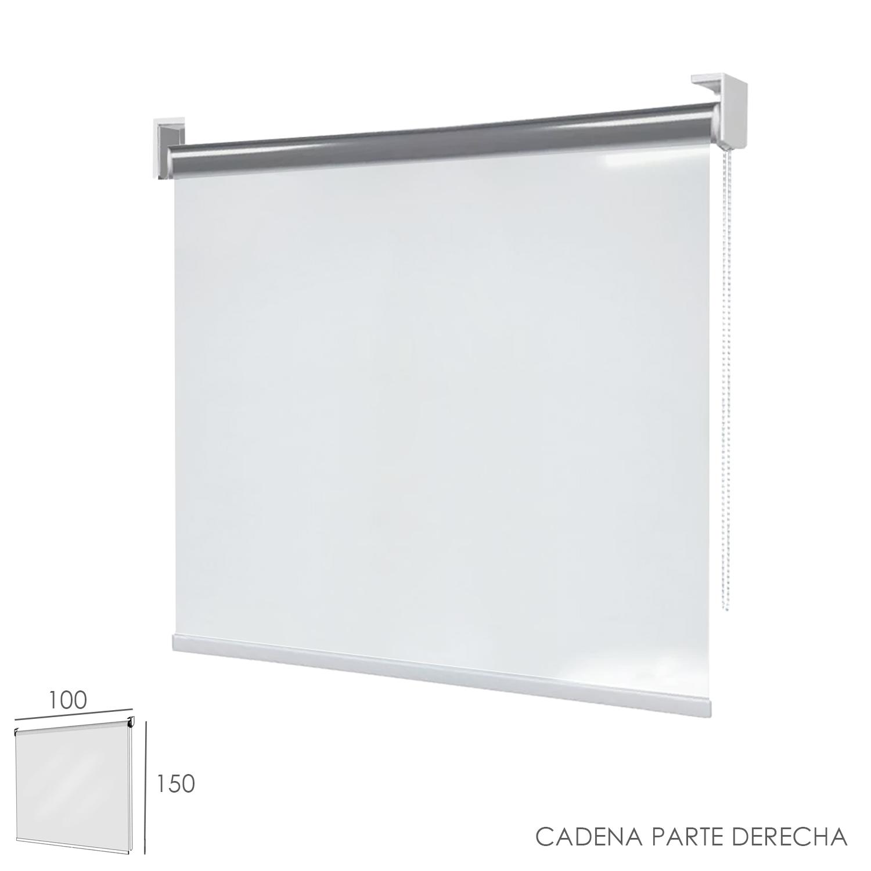Mampara Cortina Enrollable PVC Transparente, Medidas 100 x 150 cm. Cadena Lado Derecho