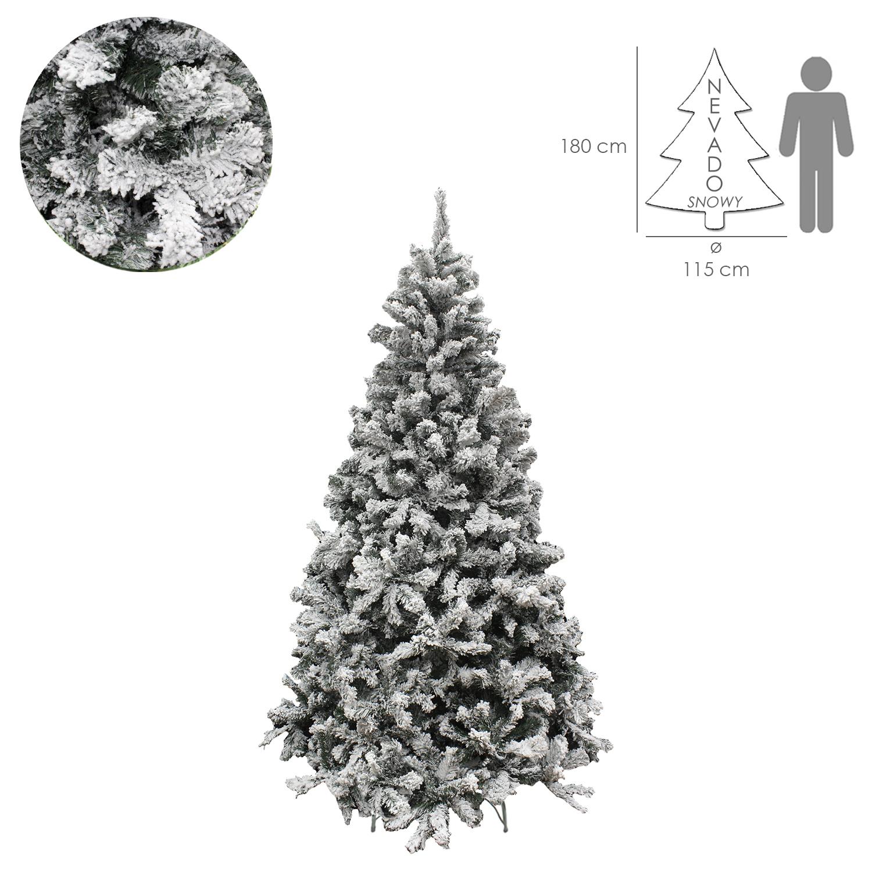 Arbol De Navidad Nevado 180 cm. 758 Ramas. Hojas De Pvc Con Nieve Artifical