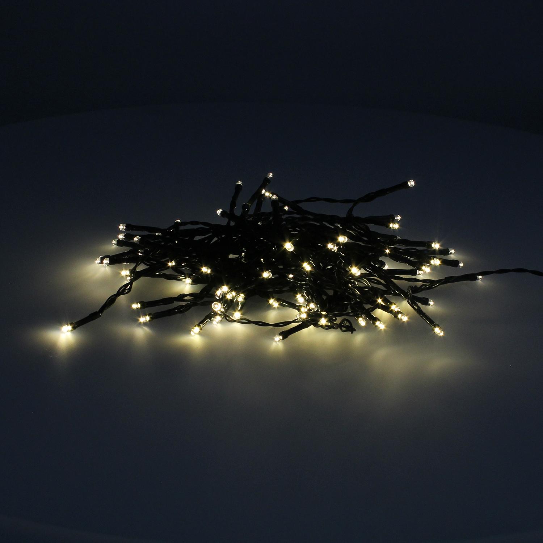 Guinalda Luces Navidad 100 Led Color Blanco Calido.Luz navidad interiores y exteriores IP44.Funciona