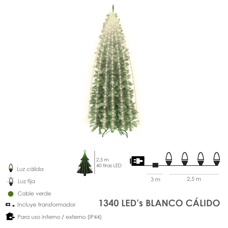 Guinalda Luces Navidad 1340 Leds Cascada Cubrearbol Blanco Calido. Ip44. Luz Navidad Interiores y Ex