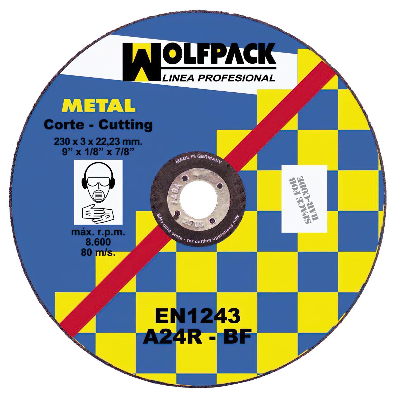 Disco Corte Abrasivo Metal 230x3,2x22 mm.
