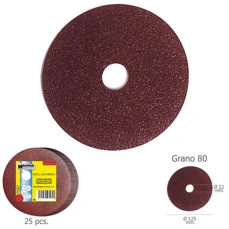 Disco Lija Hierro 125x22 mm. Grano  80 (Paquete de 25 unidades)