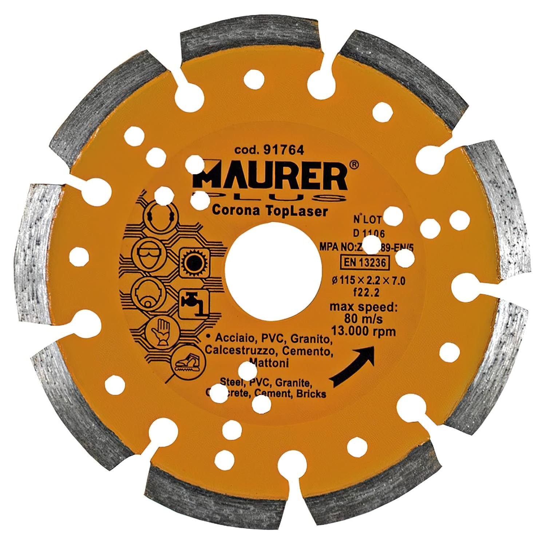 Disco Diamante Maurer Segmentado Laser Acero, PVC, Hormigón, Granito 115 mm.