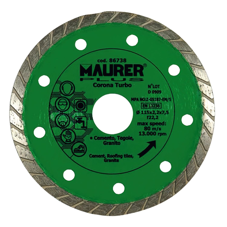 Disco Diamante Maurer Continuo Turbo Cemento, Tejas, Granito 115 mm.