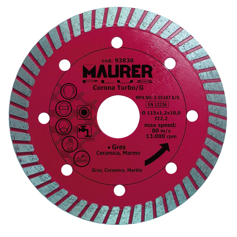 Disco Diamante Maurer Gres, Ceramica, Marmol  115 mm.