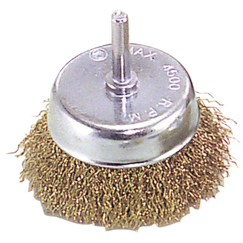 Cepillo Acero latonado Taza          50 mm. 1/4