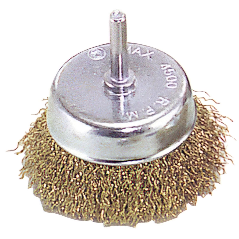 Cepillo Acero latonado Taza          75 mm. 1/4