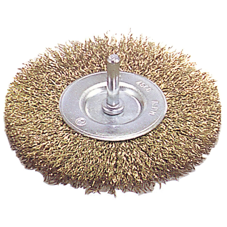 Cepillo acero latonado Disco         75 mm. 1/4