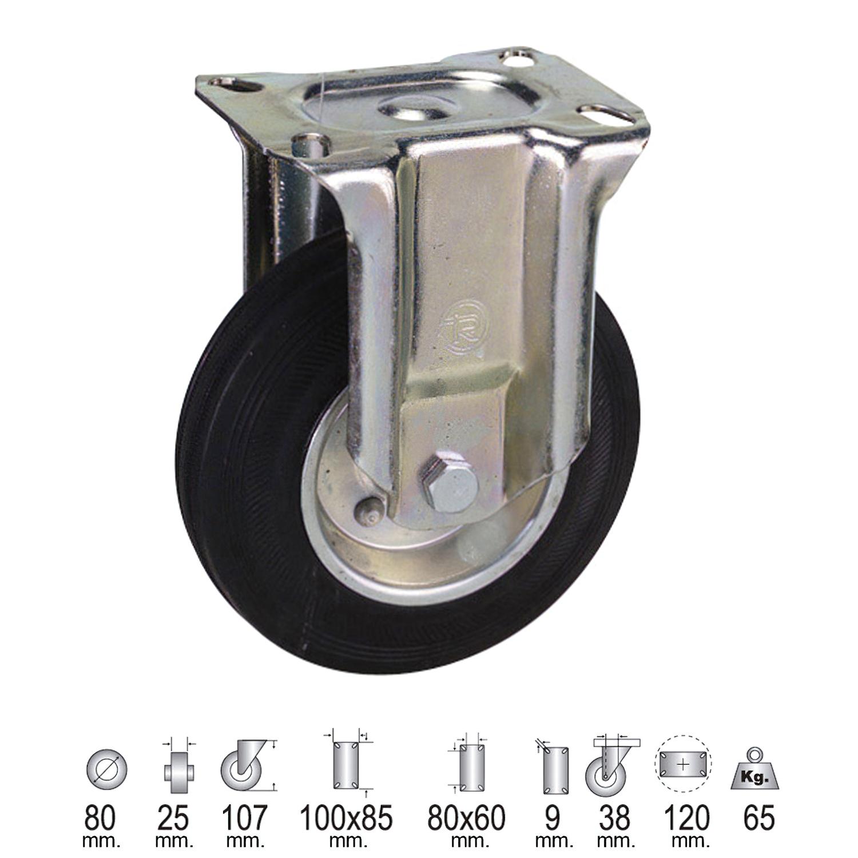 Rueda Industrial Goma Negra Fija   80 mm.