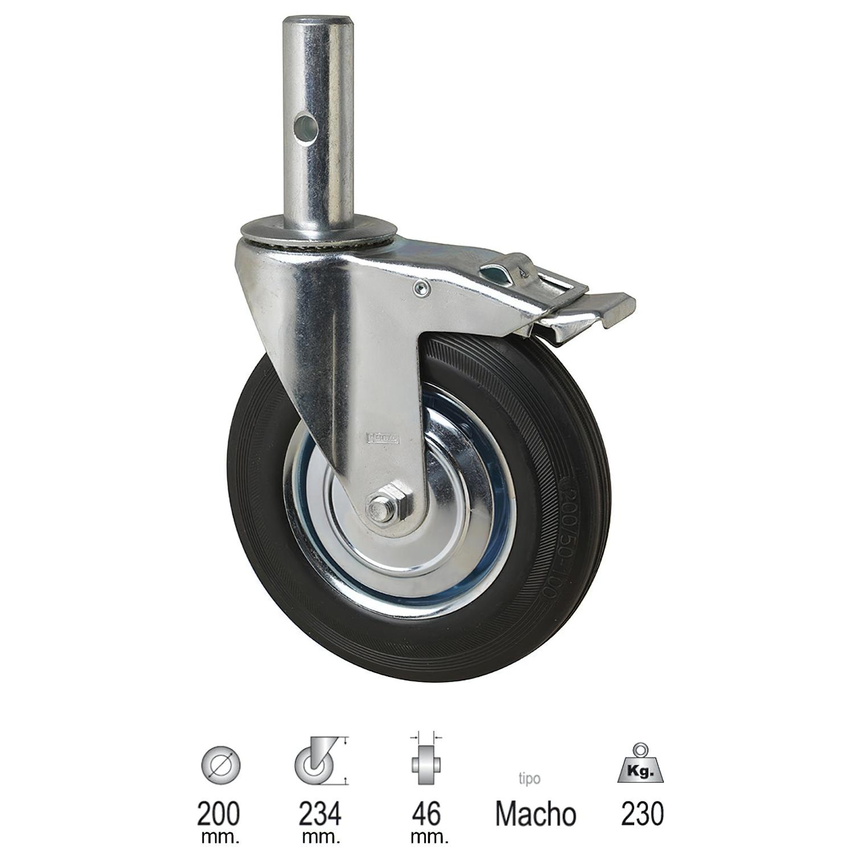 Rueda Industrial Andamio (Macho) 200 mm.