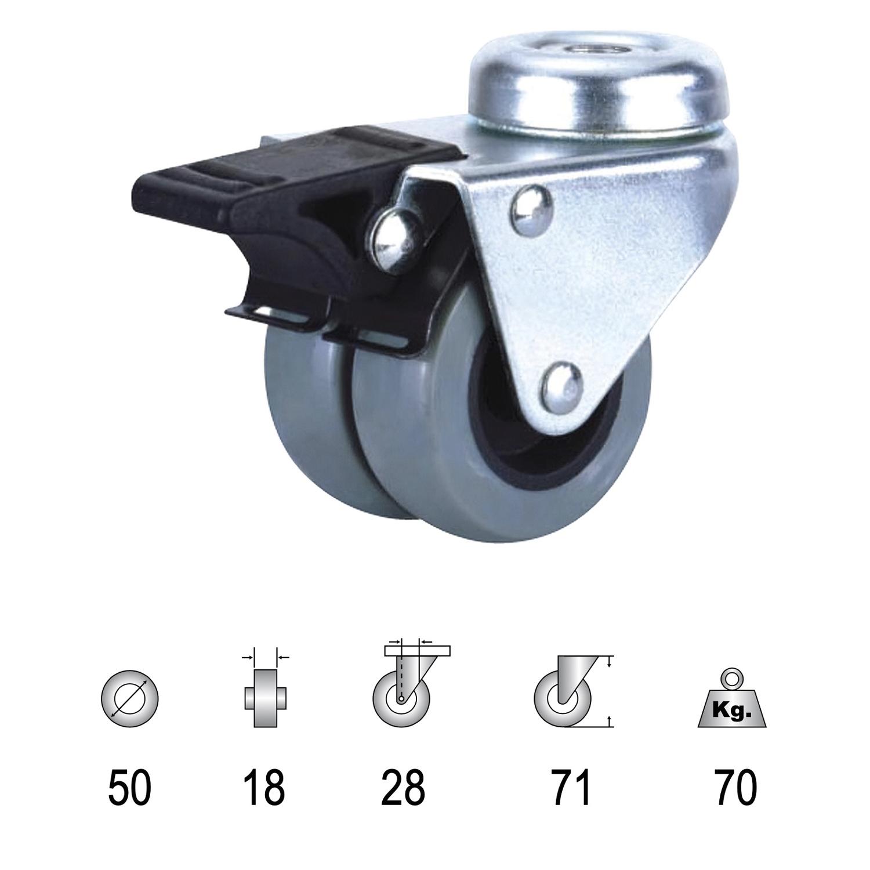 Rueda Industrial Doble Poliamida Gris Pasante con freno 50mm