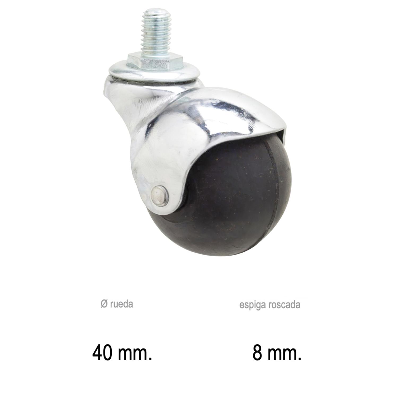 Rueda Domestica Goma Negra Esfera Espiga M8x40 mm.