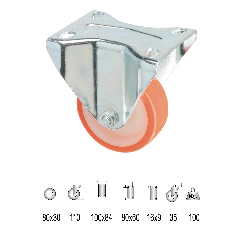 Rueda Industrial Poliuretano Fija   80 mm.