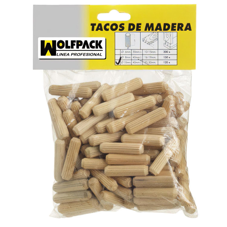Espigas Madera 10x40 mm. (Bolsa de 50 Piezas)
