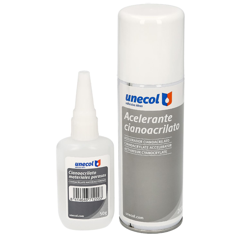 Pegamento Cianoacrilato (50 Gr.) con Acelerante (200ml) Especial materiales porosos, multiusos, plas
