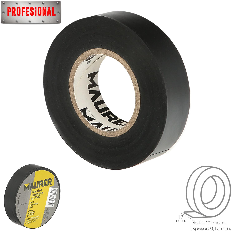 Cinta Aislante, PVC, Profesional, 25 metros x 19 mm. x 0,15 mm espesor. Color Negra