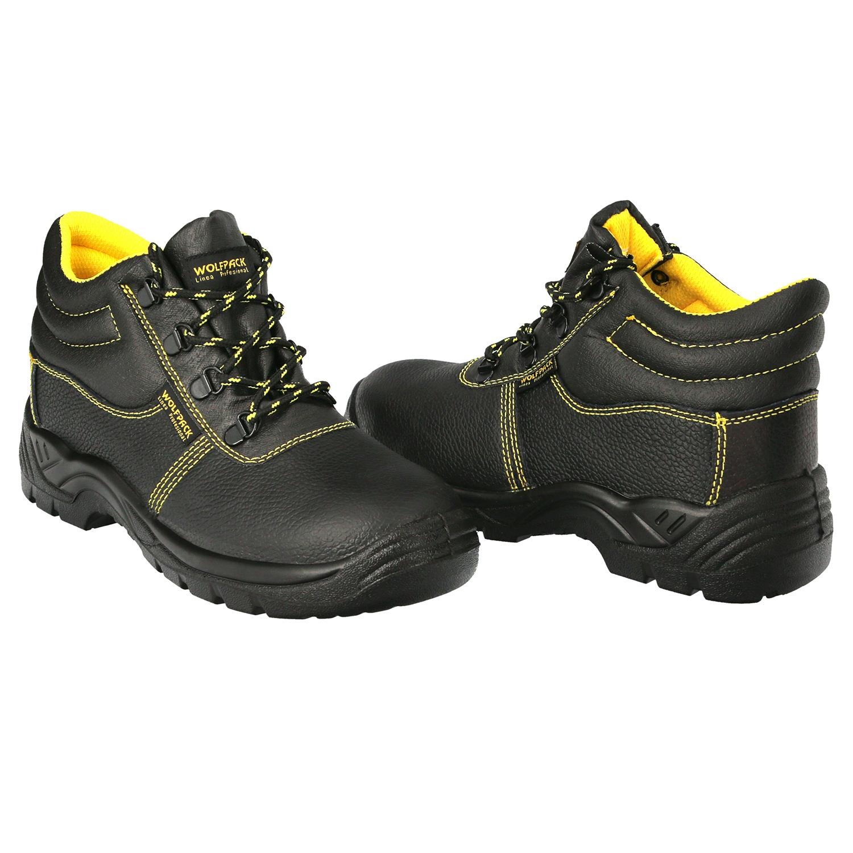 Botas Seguridad S3 Piel Negra Wolfpack  Nº 37 Vestuario Laboral,calzado Seguridad, Botas Trabajo. (P