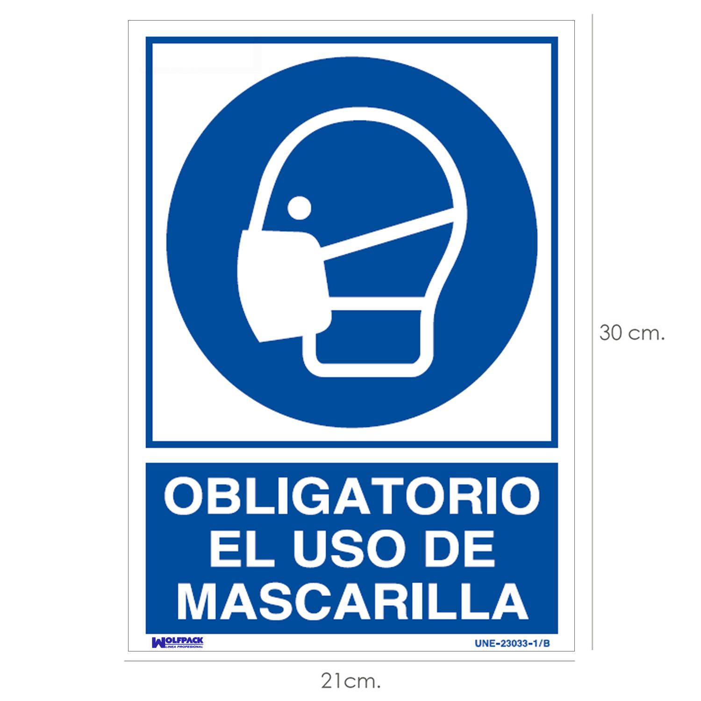Cartel Obligatorio el Uso de Mascarilla 30x21 cm.