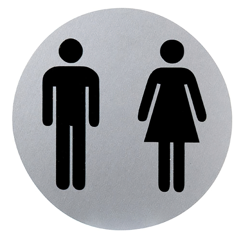 Cartel Aluminio Baño Hombre/Mujer Ø12 cm.