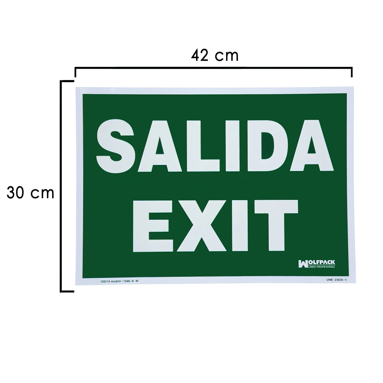 Cartel / Señal Fluorescente Salida Exit 30x42 cm.