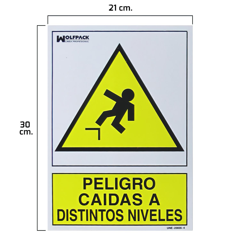 Cartel Peligro Caidas a Distintos Niveles 30x21