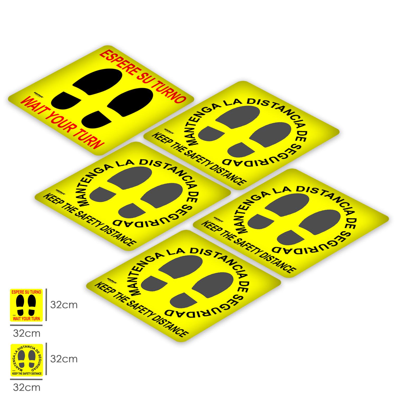 Rotulacion Suelo Distancia Seguridad y Turno. Pegatinas Señalizacion. 5 Unidades Cuadradas, 32 x 32