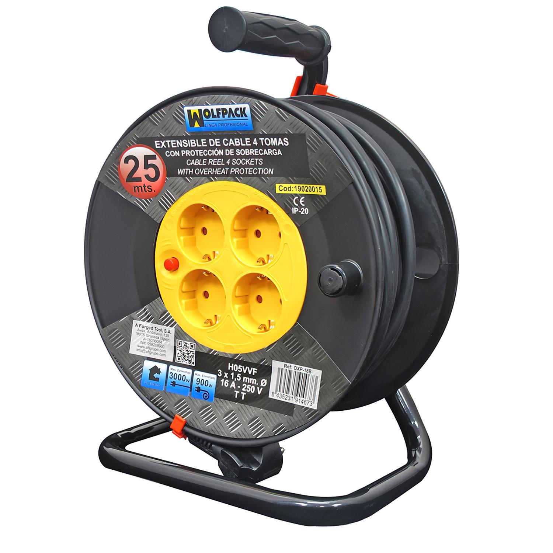 Extensible Industrial 4 Tomas 25 Metros 3 x 1,5 mm. con Protección Sobrecarga