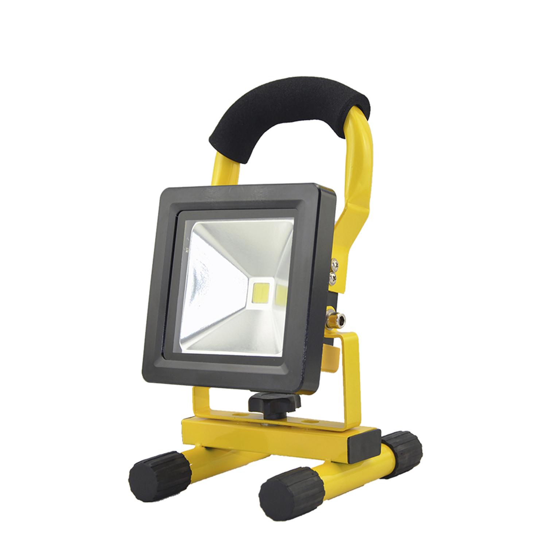 Foco Led Recargable 10 Watt. Luz Blanca 4000º K  IP 65 500 Lumenes Con Asa de Transporte