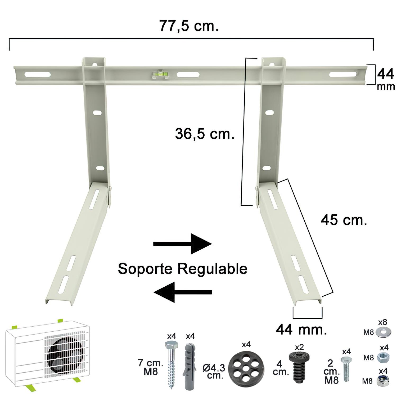 Palomilla Aire Acondicionado 45x36x77,5 cm. Regulable (3 Piezas)