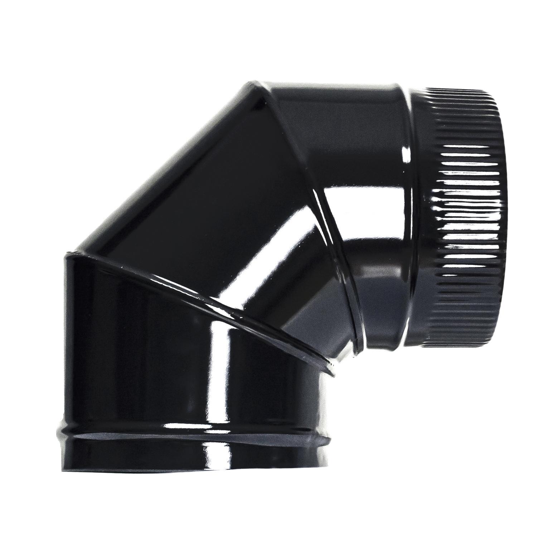 Codo Estufa Color Negro Vitrificado de 200 mm. 90°.