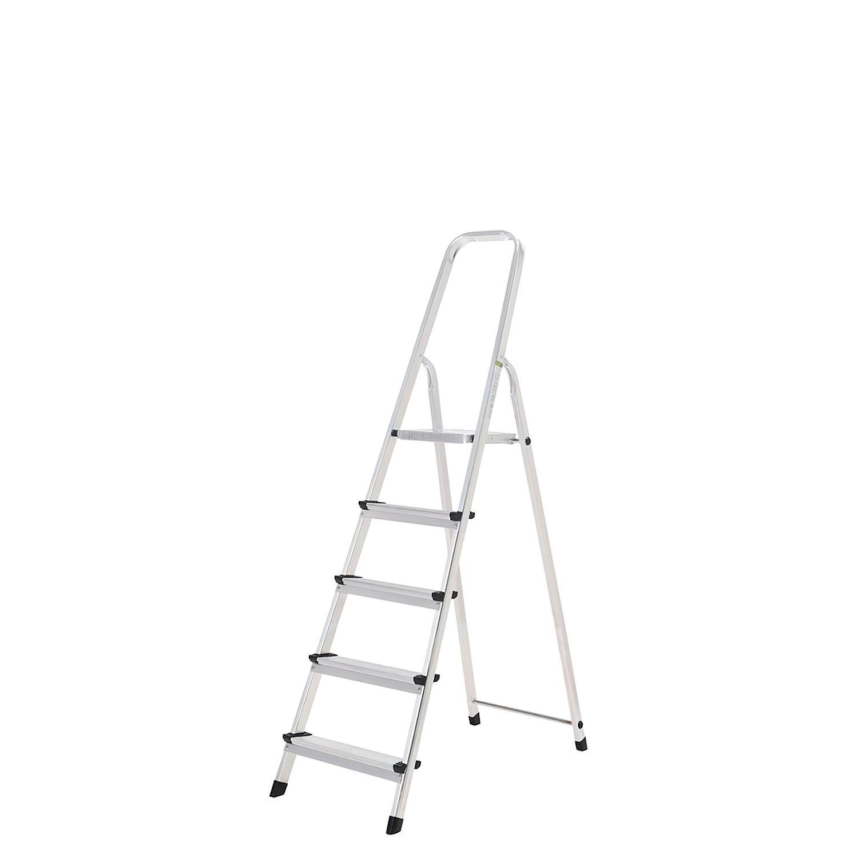 Oryx Escalera Aluminio 5 Peldaños Plegable, Uso doméstico, Antideslizante, Ligera y Resistente