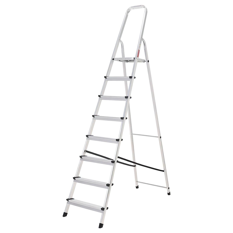 Oryx Escalera Aluminio 8 Peldaños Plegable, Uso doméstico, Antideslizante, Ligera y Resistente