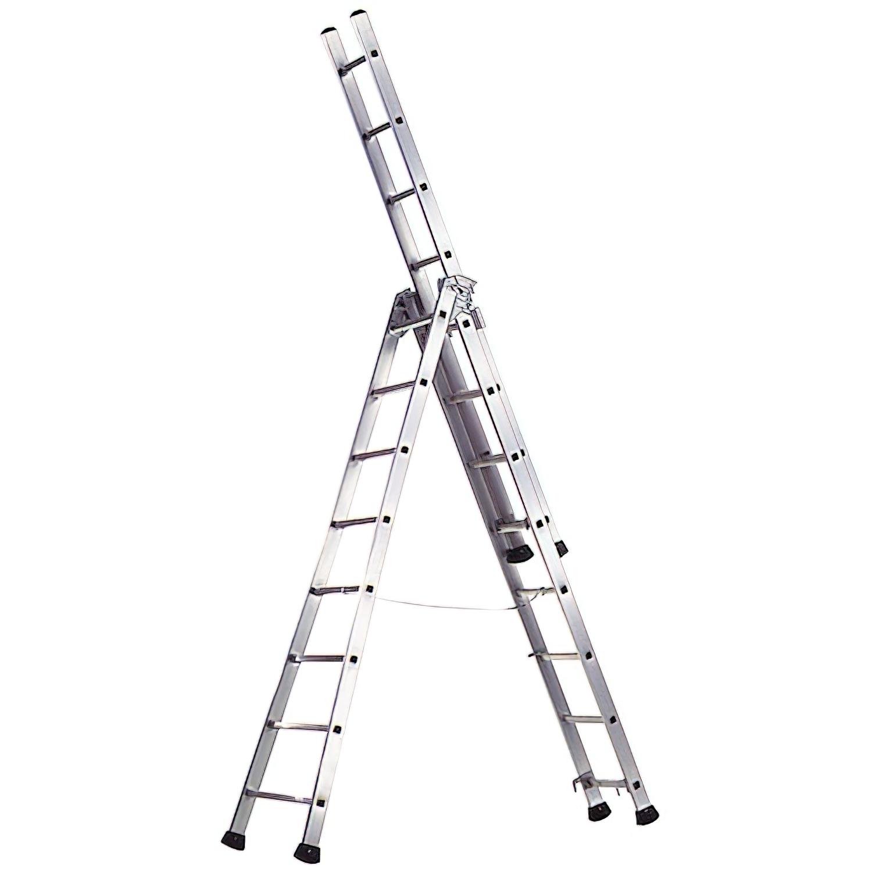 Escalera Aluminio Industrial Pronor 3 Tramos 8+8+8 Peldaños