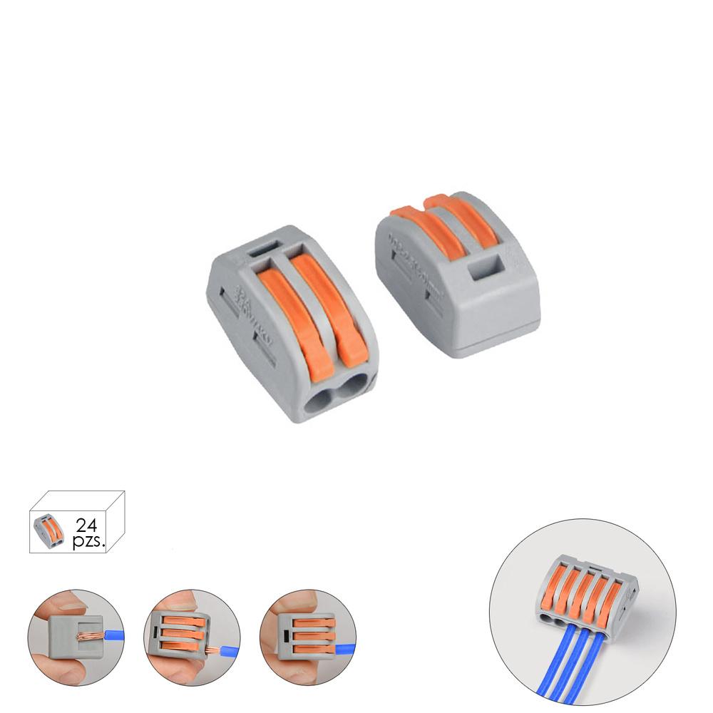 Regleta Conexion Rapida, Conexion Electrica 2 Polos, Ø 4 mm. 32 A, Paquete 24 Unidades